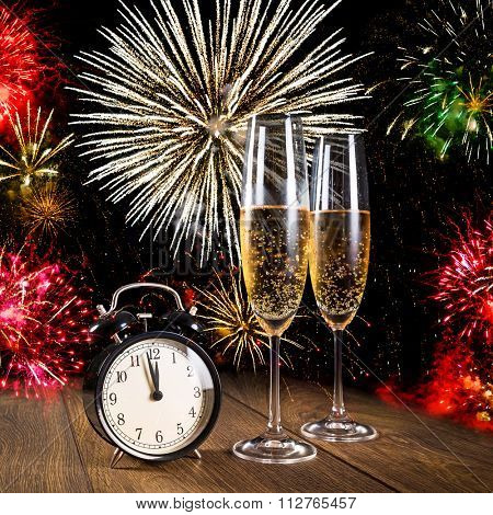 New year celebrations with fireworks