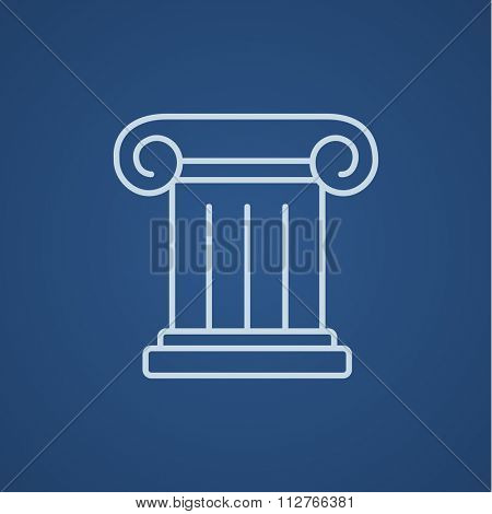 Ancient column line icon for web, mobile and infographics. Vector light blue icon isolated on blue background.