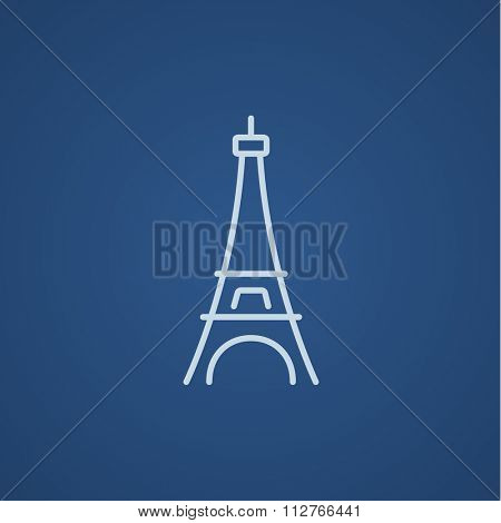 Eiffel Tower line icon for web, mobile and infographics. Vector light blue icon isolated on blue background.