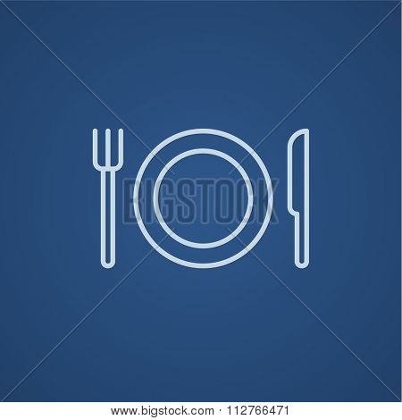Plate with cutlery line icon for web, mobile and infographics. Vector light blue icon isolated on blue background.