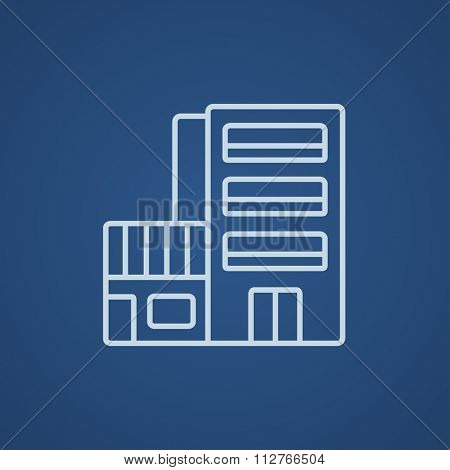 Hotel building line icon for web, mobile and infographics. Vector light blue icon isolated on blue background.