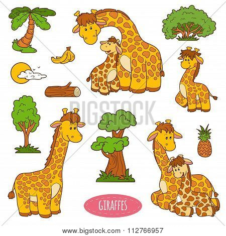 Set Of Cute Animals And Objects, Vector Stickers Of Giraffes