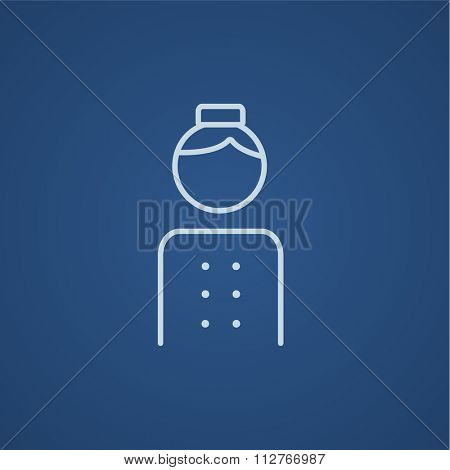 Bellboy line icon for web, mobile and infographics. Vector light blue icon isolated on blue background.