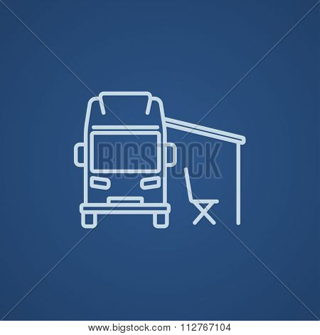Motorhome with tent line icon for web, mobile and infographics. Vector light blue icon isolated on blue background.