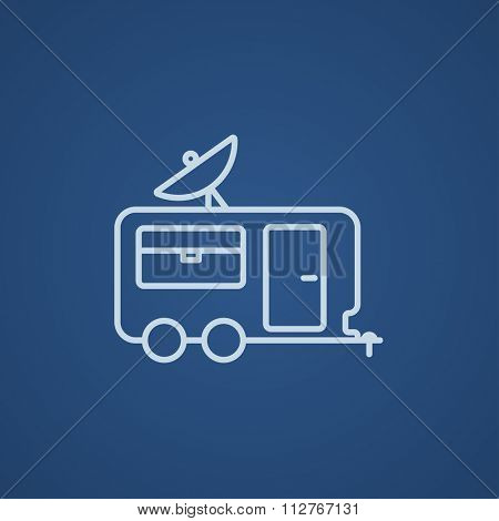 Caravan with satellite dish line icon for web, mobile and infographics. Vector light blue icon isolated on blue background.