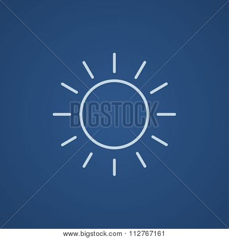 Sun line icon for web, mobile and infographics. Vector light blue icon isolated on blue background.