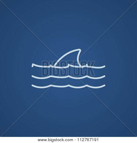 Dorsal shark fin above water line icon for web, mobile and infographics. Vector light blue icon isolated on blue background.