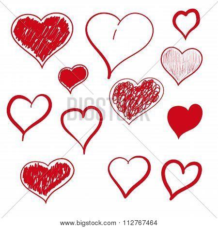 Vector illustration heart hand drawn