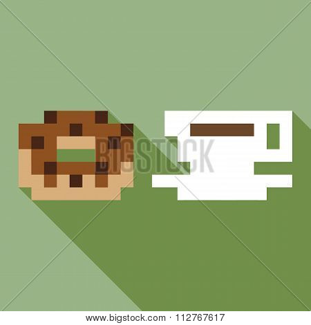 Donut coffee dynamic duo pixelated flat design icon