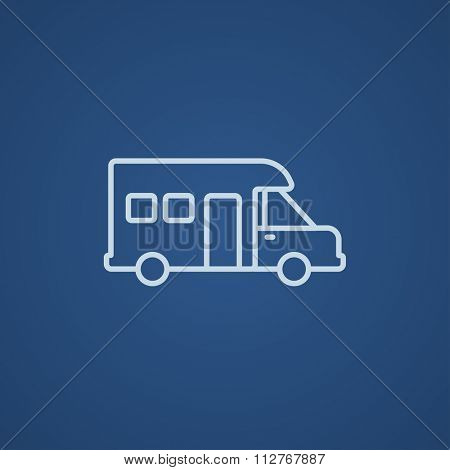 Motorhome line icon for web, mobile and infographics. Vector light blue icon isolated on blue background.