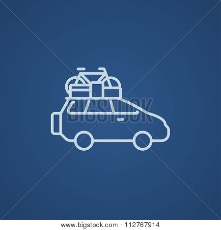 Car with bicycle mounted to the roof line icon for web, mobile and infographics. Vector light blue icon isolated on blue background.