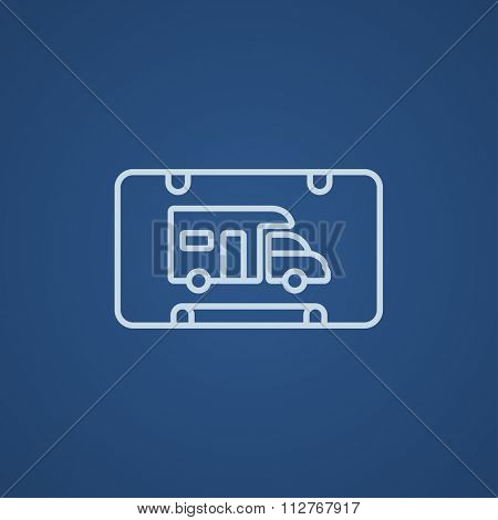 RV camping sign line icon for web, mobile and infographics. Vector light blue icon isolated on blue background.