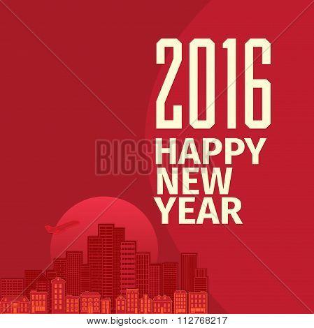Flat style New Year wish greeting card