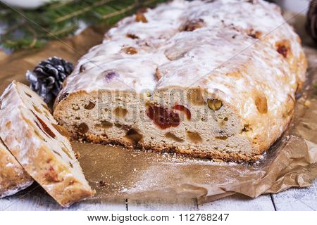 German Christmas Cake Stollen With Dry Fruits And Nuts