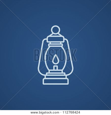 Camping lantern line icon for web, mobile and infographics. Vector light blue icon isolated on blue background.