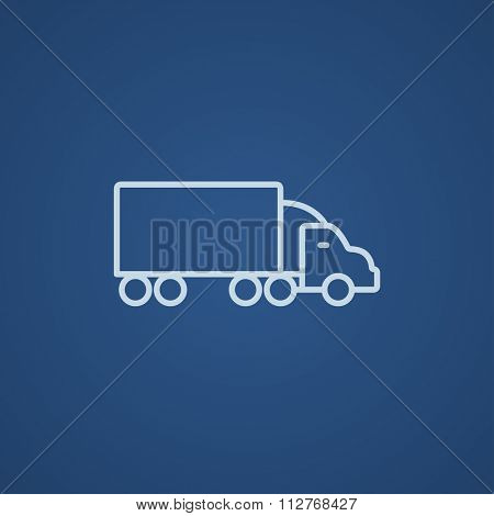 Delivery truck line icon for web, mobile and infographics. Vector light blue icon isolated on blue background.