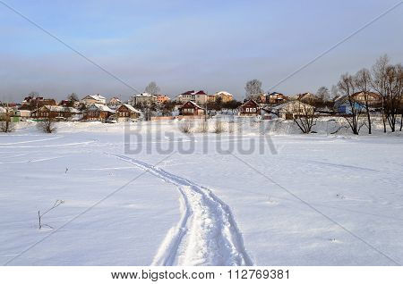 Winter Country Landscape With Snow Over Lake