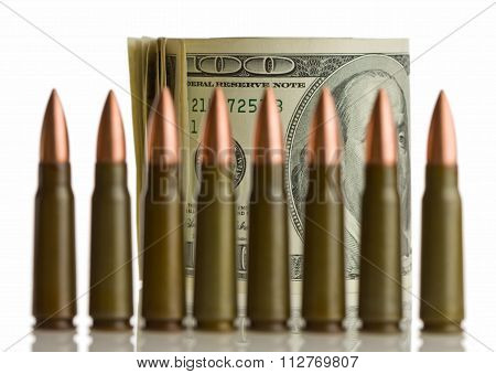 Cartridges And Money - Shallow Dof, Focus On Bank Notes