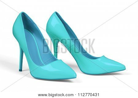 A pair of turquoise women's heel shoes isolated over white with clipping path.