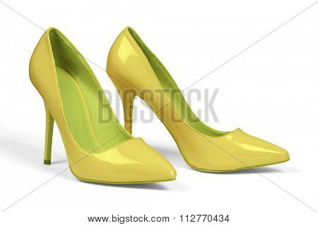 A pair of yellow women's heel shoes isolated over white with clipping path.