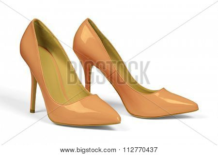 A pair of women's heel shoes isolated over white with clipping path.