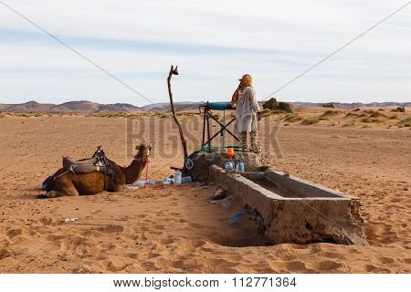 Berber and camel near the well, Morocco