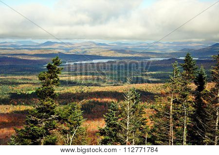 Fall foliage in Adirondack Mountains view from top of Whiteface Mountain in fall, New York State, USA
