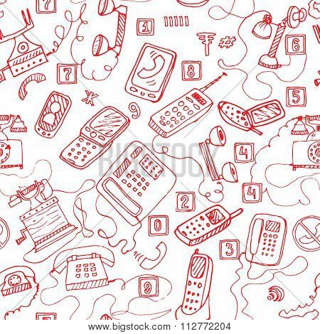 hand drawn telephones seamless pattern. vector background