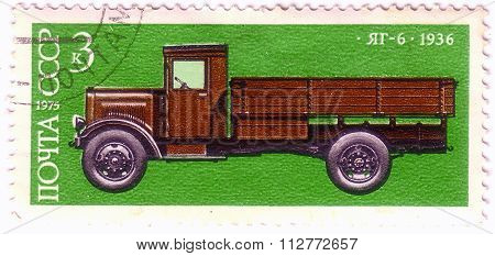 Ussr - Circa 1975: A Stamp Printed In Ussr Shows 5-ton Truck, Yag-6, 1936, Development Of Russian Au