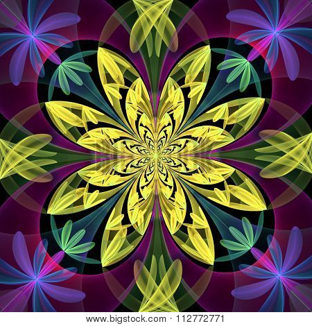 Fabulous Symmetrical Pattern Of The Petals. Yelow And Purple Palette.  You Can Use It For Invitation