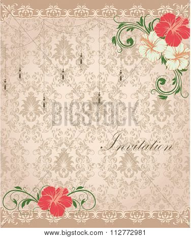 Vintage invitation card with ornate elegant retro abstract floral design, red and pale yellow flowers and green leaves on brownish gray background with lanterns borders. Vector illustration.