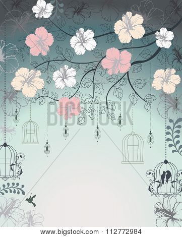 Vintage invitation card with ornate elegant retro abstract floral design, multicolored flowers and leaves on bluish gray background with lanterns birds and text label. Vector illustration.