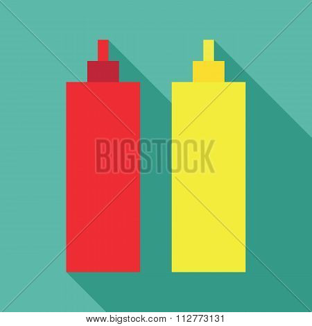 Ketchup mustard dynamic duo pixelated flat design icon