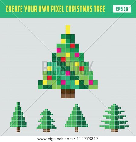 Pixel Christmas tree DIY vector illustration