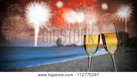 Celebration of the New Year in the city with fireworks