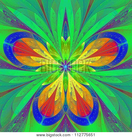 Beautiful Multicolored Fractal Flower Or Butterfly In Stained Glass Window Style.