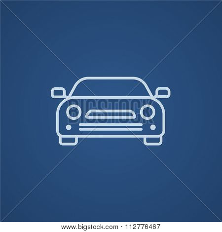 Car line icon for web, mobile and infographics. Vector light blue icon isolated on blue background.