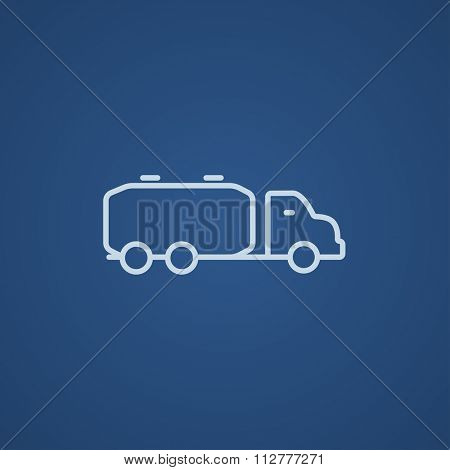 Truck liquid cargo line icon for web, mobile and infographics. Vector light blue icon isolated on blue background.