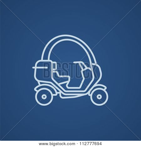 Rickshaw line icon for web, mobile and infographics. Vector light blue icon isolated on blue background.