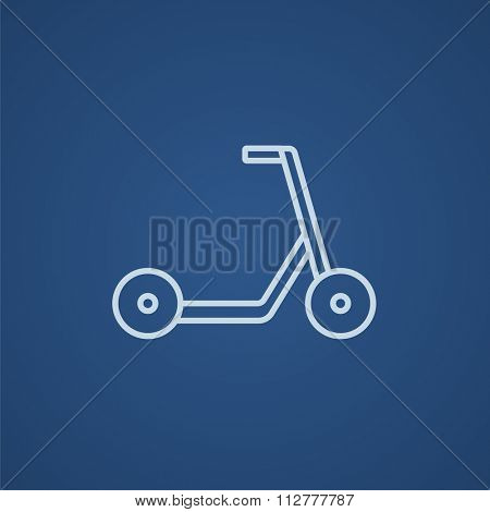 Kick scooter line icon for web, mobile and infographics. Vector light blue icon isolated on blue background.