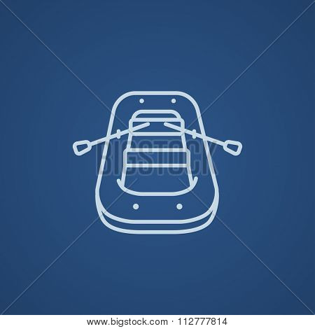 Inflatable boat line icon for web, mobile and infographics. Vector light blue icon isolated on blue background.
