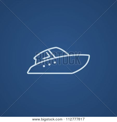 Speedboat line icon for web, mobile and infographics. Vector light blue icon isolated on blue background.