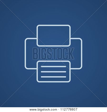 Printer line icon for web, mobile and infographics. Vector light blue icon isolated on blue background.