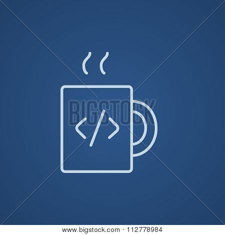 Cup of coffee with a code sign line icon for web, mobile and infographics. Vector light blue icon isolated on blue background.