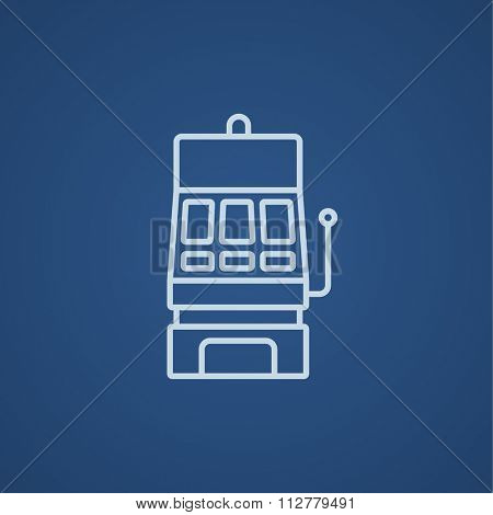 Slot machine line icon for web, mobile and infographics. Vector light blue icon isolated on blue background.