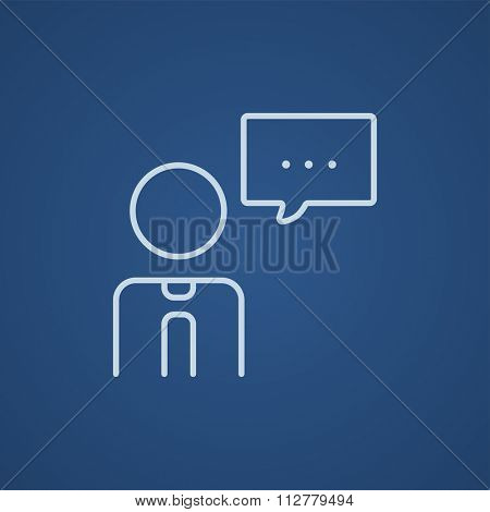 Man with speech square line icon for web, mobile and infographics. Vector light blue icon isolated on blue background.