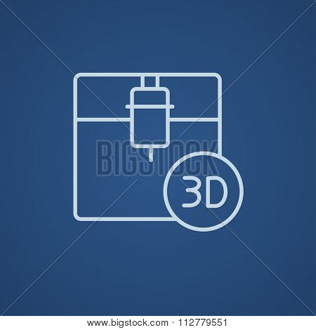 3D printing line icon for web, mobile and infographics. Vector light blue icon isolated on blue background.