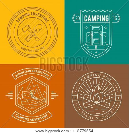 Camping badges set in thin line style.