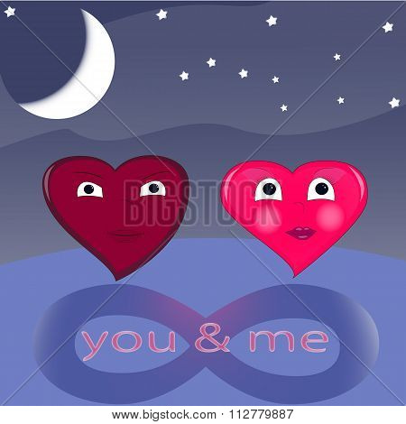 two lovers heart valentine, card