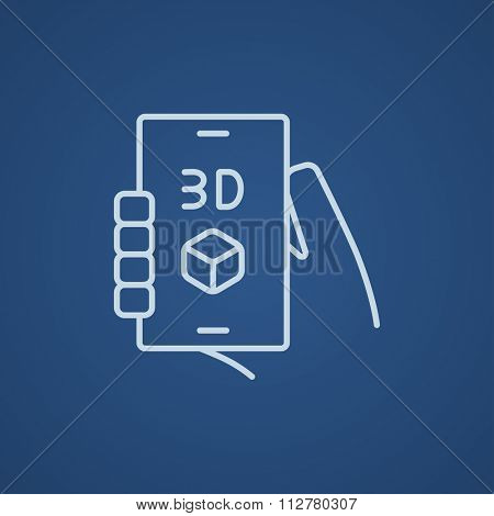 Smartphone with three D box line icon for web, mobile and infographics. Vector light blue icon isolated on blue background.